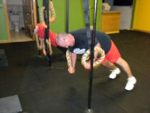 Mike and Lorin doing the Bandit Row - can you say core stability!