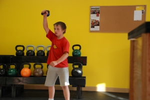 11 Year-Old Josh doing the kettlebell snatch