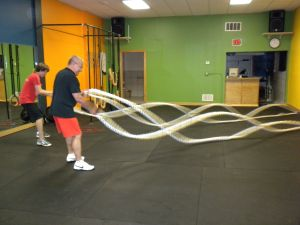 "Mike and Lorin on the ropes... The new 2"" ropes Mike is using are exhausting!"